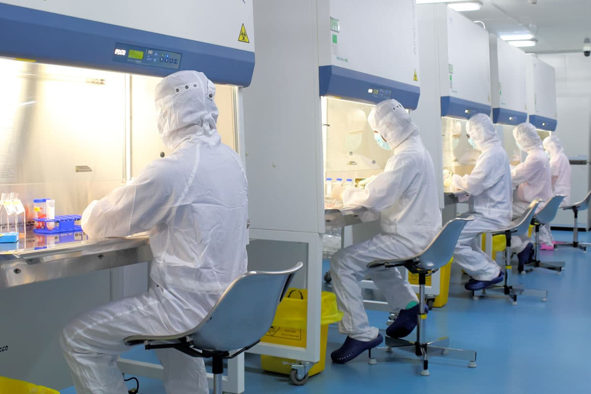 Laboratory staff processing umbilical cord blood at Beike GMP laboratory